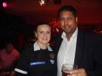Annesley with Anastasia Dobromyslova at the 2012 BDO World Darts Championship at Lakeside Country Club, Frimley Green - Surrey
