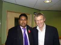 Annesley with BBC's Jeremy Vine just after taking part in a debate on his Radio 2 show