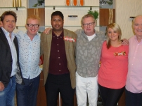 Annesley was a guest on BBC\'s Saturday Kitchen in November 2011. In this photo (L to R) - James Martin, Chris Evans, Annesley, Mark Williams, and Rick Stein)