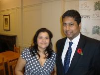 Annesley with EastEnders actress Nina Wadia at the Houe of Commons Tiffin Restaurant Awards 2010