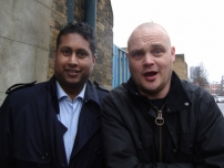 Annesley with TV comedian Al Murray near Hoxton