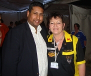 Annesley with Welsh darts player, Julie Gore at the 2012 BDO World Darts Championship