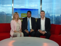An early start! Annesley on ITV\'s \'Daybreak\' sofa with presenters Kate Garraway and Dan Lobb.