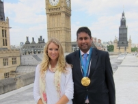 Annesley pictured with Canadian Olympic Winter Gold medallist (ski-cross champion), Ashleigh McIvor.