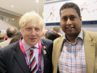 Annesley with London Mayor Boris Johnson after the Paralympic Games Opening Ceremony.
