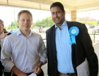 Annesley campaigning with Conservative Party Co-Chairman, Rt Hon Grant Shapps MP in Corby.