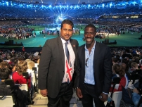 Annesley with British Olympic track sprinter, Dwain Chambers at the Paralympic Games Closing Ceremony.