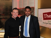 Annesley with presenter Stephen Mulhern at ITV\'s \'This Morning\' programme.