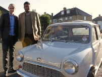 Annesley pictured with his 1959 Austin Se7en Mini and Dragons' Den and Radio 4 presenter Evan Davis who was making a programme about British manufacturing including the Austin/Morris Mini.