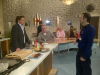Annesley on the set of BBC\'s Saturday Kitchen.
